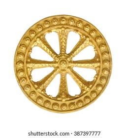 Wheel of law, Dharma isolated on white background