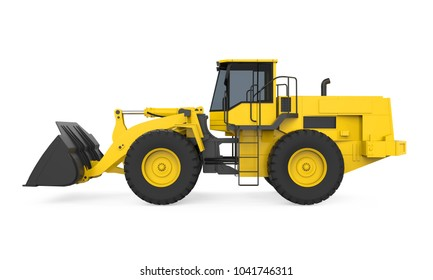 Wheel Loader Bulldozer Isolated. 3D rendering