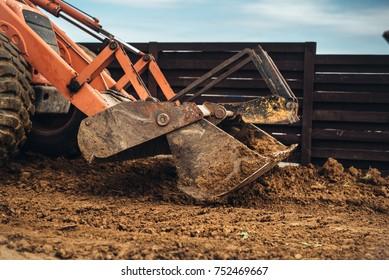 Wheel loader excavator, backhoe loader machinery details working around the construction site