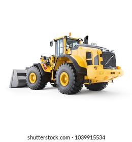 Wheel Loader Isolated on White. Yellow Front Loader. Loading Shovel. Back View of Heavy Equipment Machine. Industrial Vehicle. Pneumatic Truck. Tractor Front Loader. Manufacturing Equipment