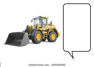 Wheel Loader Isolated on White. Yellow Front Loader. Loading Shovel. Manufacturing Equipment. Pneumatic Truck. Tractor Front Loader. Heavy Equipment Machine. Side View Industrial Vehicle. 3D Rendering