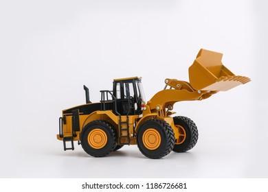 Wheel loader model on white background