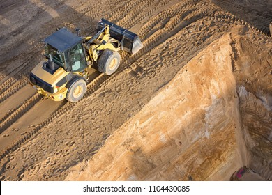 wheel loader at slope edge