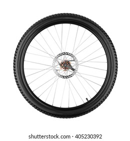 wheel of a mountain bike isolated on white background