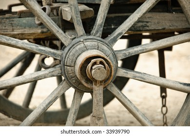 Wheel of an old cart in detail