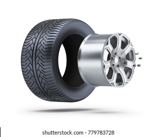 Wheel parts. 3d image. White background.