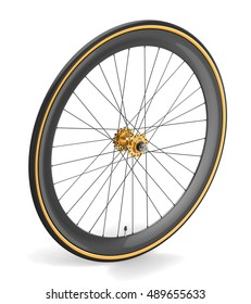 Wheel for road bicycle with carbon rim. 3d illustration isolated on white background