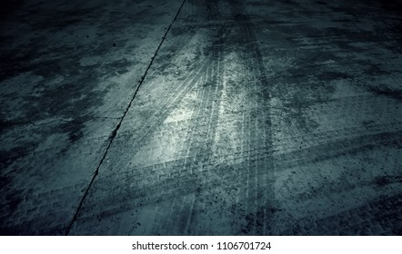 Wheel skid marks on the road, travel and transportation