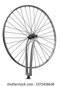 Wheel spinning, single lone effort, white background