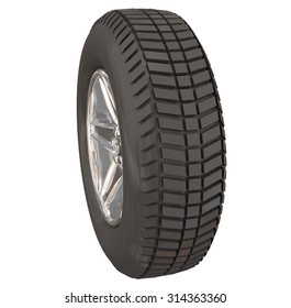A wheel or tire from the side view to illustrate driving a car, vehicle, truck or automobile