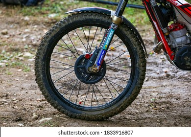 The wheel of a trial bike during the Hertz FIM Trial World Championship (round 4) at Moto Club Lazzate circuit on October 11, 2020 in Lazzate (MB), Italy