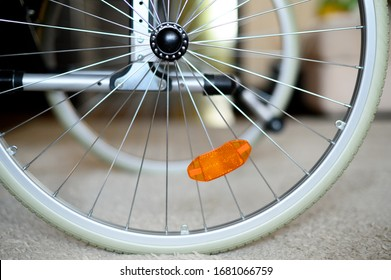 The wheel from the wheelchair. Invalids