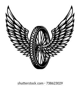 Wheel with wings. Design element for logo, label, emblem,sign, badge,, t-shirt, poster