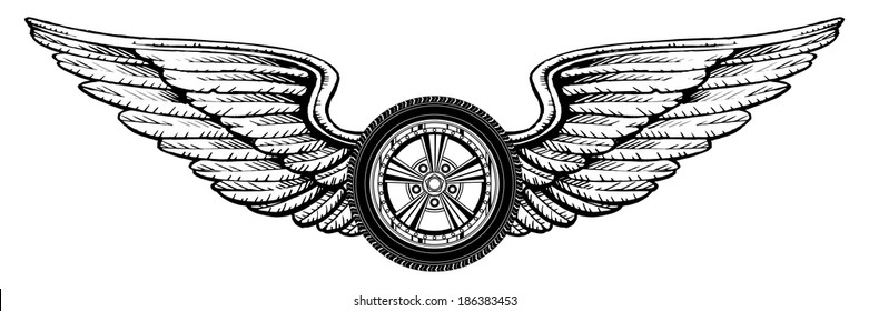 Wheel With Wings is an illustration of a wheel with wings design. Great for t-shirts designs and other automobile racing designs.