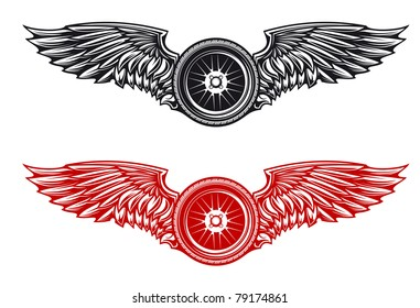 Wheel with wings for tattoo or mascot design, such a logo. Vector version also available in gallery