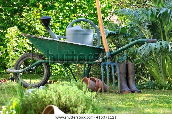 Wheelbarrow Gardening Tools Vegetable Garden Stock Image