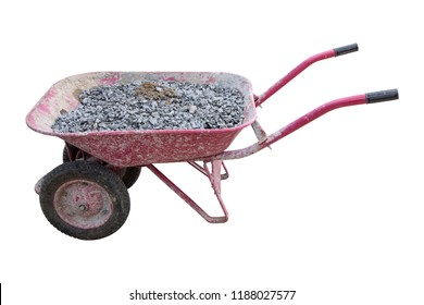 Wheelbarrow with gravel isolated on white background, industrial gardening tools equipment