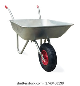 Wheelbarrow isolated on white background. Garden single wheel cart