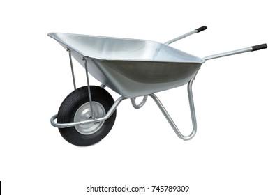 Wheelbarrow isolated on white background. Garden metal wheelbarrow cart