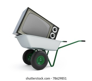 wheelbarrow old tv isolated on a white background