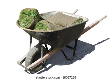 Wheelbarrow with rolls of sod - clipping paths included