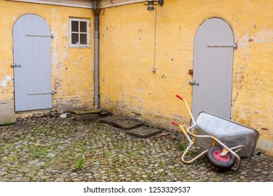 Wheelbarrow in UNESCO town Christainsfeld, Denmark