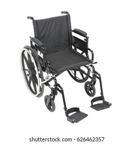 Wheelchair with Adjustable Padded Arms Isolated on White Background. Transport Chair