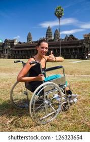 with wheelchair at Angkor Wat