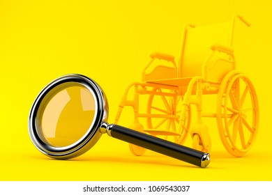 Wheelchair background with magnifying glass in orange color. 3d illustration