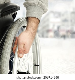 wheelchair and background of street