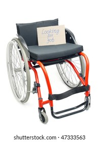 Wheelchair with cardboard note Looking for Job over white - concept of handicapped unemployment problem