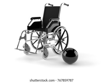 Wheelchair with chain isolated on white background. 3d illustration