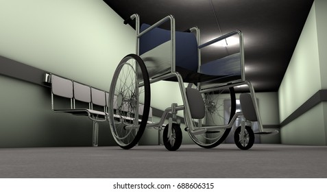 Wheelchair in the corridor of a hospital. Concept of disability and loneliness. 3D Rendering.