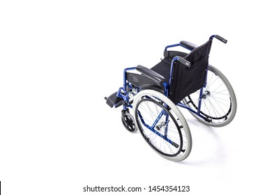 wheelchair for disabled people in blue on a white background. Concept of disability and medical assistance.