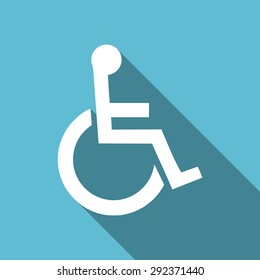 wheelchair flat icon  original modern design flat icon for web and mobile app with long shadow