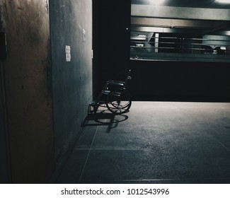 wheelchair in the hospital darkness