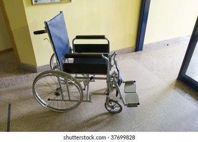 Wheelchair in a hospital waiting room
