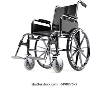 Wheelchair isolated on white background. 3d illustration