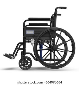 wheelchair isolated on white. Side view. 3D illustration, clipping path