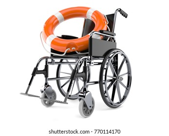 Wheelchair with life buoy isolated on white background. 3d illustration