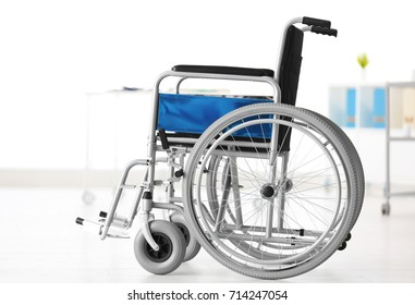 Wheelchair in light room. Elderly care concept