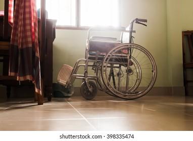 wheelchair Located at my window Choose colors sedate atmosphere sad and lonely vintage style.