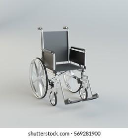 Wheelchair on gray studio background. 3d illustration