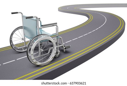 Wheelchair on a road, 3d illustration