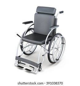 Wheelchair on a white background. 3d render image.