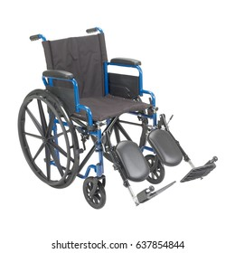 Wheelchair with Padded Arms and Elevating Leg Rest  Isolated on White Background. Medical Equipment. Transport Chair