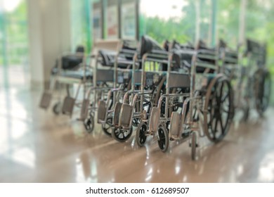 The wheelchair is parked in the hospital room.blurred photo
