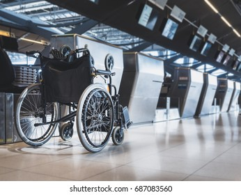 Wheelchair prepare for disability passenger at Airport Airline Check in counter Public Facility
