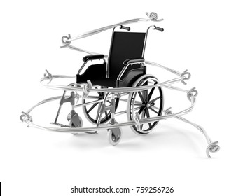 Wheelchair problem isolated on white background. 3d illustration