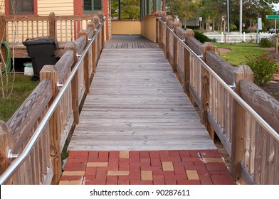 Wheelchair ramp to a house